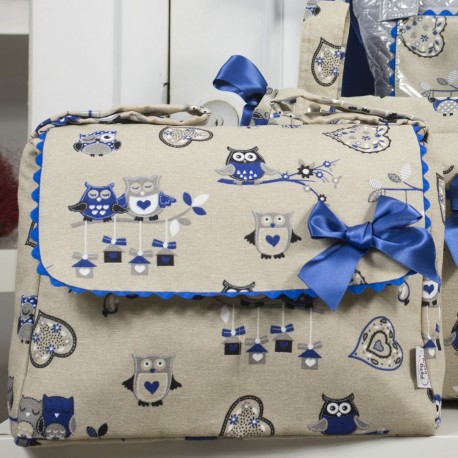 Bolso Mediano Buhos Azul