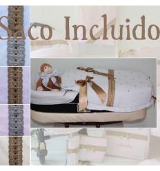Saco Capazo y Colcha Bebecar o Bugaboo piqué liso con detalles en bodoques y pasacintas