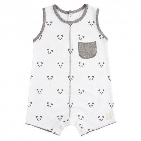 Pelele Corto (1 a 3 meses) Panda Blanco de BabyClic