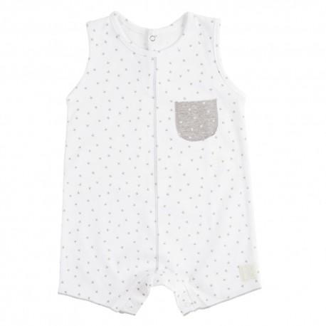 Pelele Corto (3 a 6 meses) Mini Stella Blanco de BabyClic