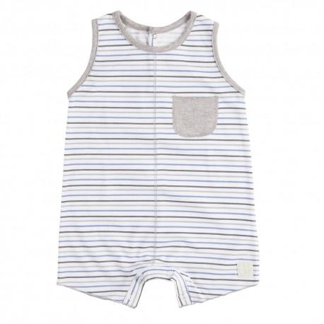Pelele Corto (6 a 9 meses) Rayas Azul de BabyClic