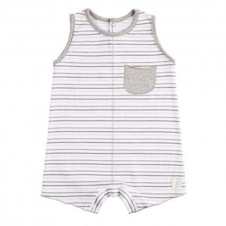 Pelele Corto (6 a 9 meses) Rayas Malva de BabyClic