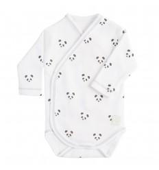 Body Cruzado Manga Larga (1 a 3 meses) Panda Blanco de BabyClic