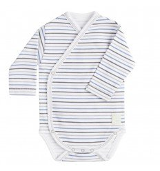 Body Cruzado Manga Larga New Born Rayas Azul de BabyClic