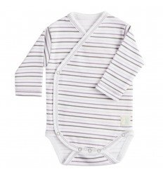 Body Cruzado Manga Larga New Born Rayas Malva de BabyClic