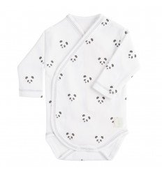 Body Cruzado Manga Larga New Born Panda Blanco de BabyClic