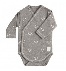 Body Cruzado Manga Larga New Born Panda Gris de BabyClic