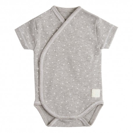 Body Cruzado Manga Corta New Born Mini Stella Gris de BabyClic