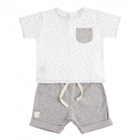 Camiseta y Short (9 a 12 meses) Mini Stella Blanco de BabyClic