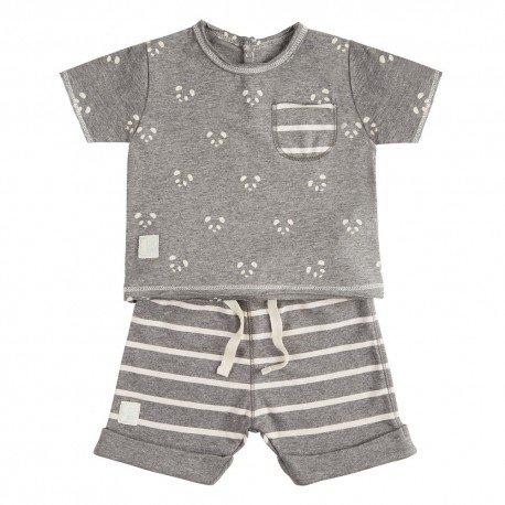 Camiseta y Short (9 a 12 meses) Panda Gris de BabyClic