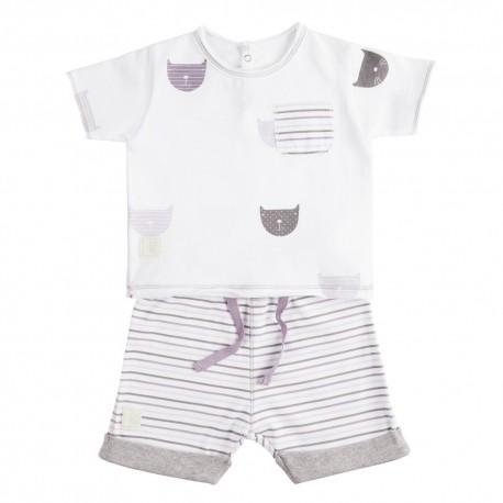 Camiseta y Short (6 a 9 meses) Miau Malva de BabyClic