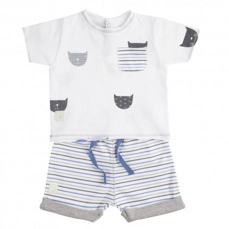 Camiseta y Short (6 a 9 meses) Miau Azul de BabyClic