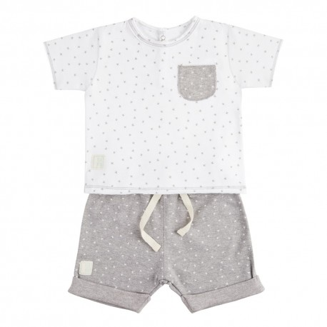 Camiseta y Short (3 a 6 meses) Mini Stella Blanco de BabyClic