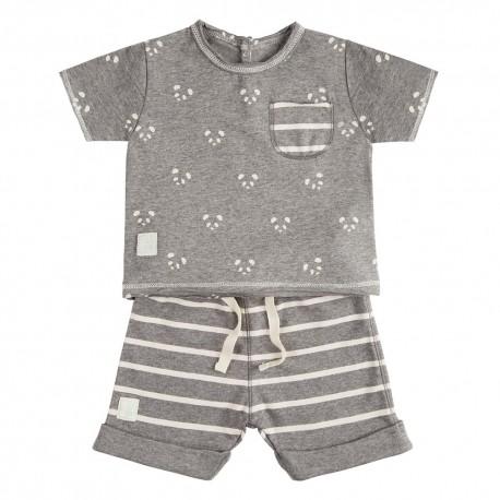 Camiseta y Short (3 a 6 meses) Panda Gris de BabyClic