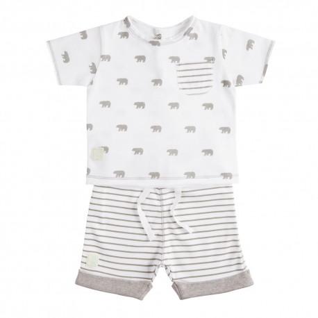 Camiseta y Short (3 a 6 meses) Polar Blanco de BabyClic