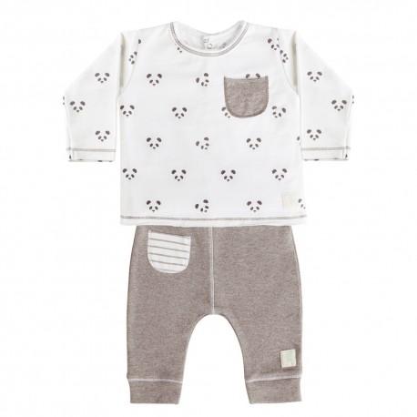 Camiseta y Pantalón (9 a 12 meses) Panda Blanco de BabyClic
