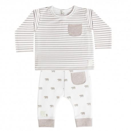 Camiseta y Pantalón (6 a 9 meses) Panda Blanco de BabyClic