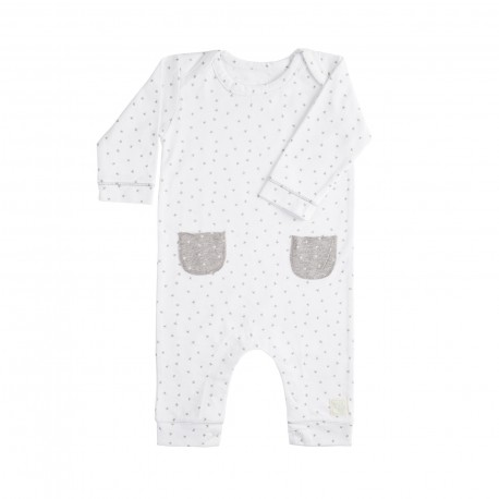 Pelele Largo (9 a 12 meses) Mini Stella Blanco de BabyClic