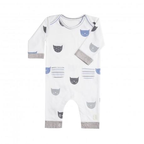 Pelele Largo (1 a 3 meses) Miau Azul de BabyClic