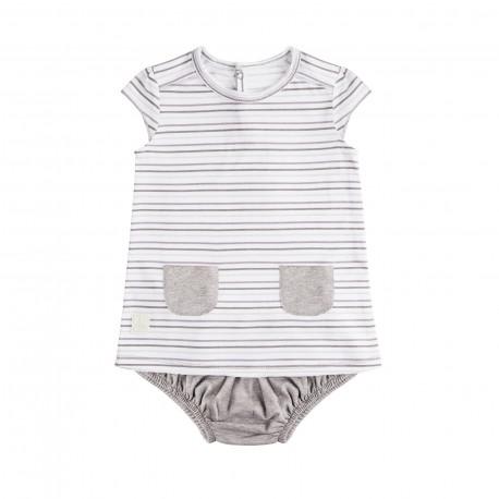 Vestido y Culotte (1 a 3 meses) Rayas Malva de BabyClic