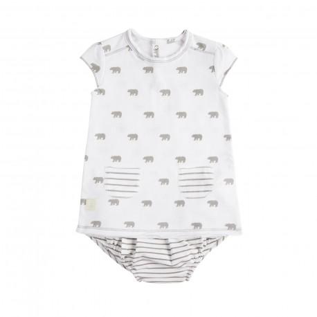 Vestido y Culotte (1 a 3 meses) Polar Blanco de BabyClic