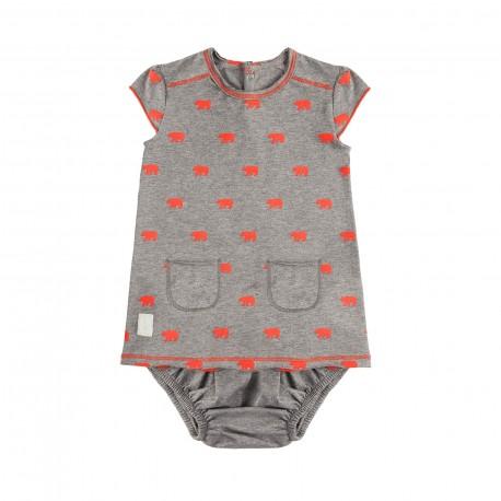 Vestido y Culotte (3 a 6 meses) Polar Coral de BabyClic