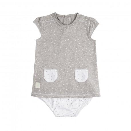 Vestido y Culotte (3 a 6 meses) Mini Stella Gris de BabyClic