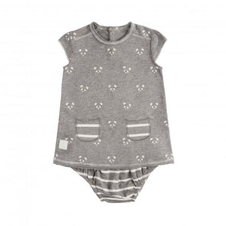 Vestido y Culotte (6 a 9 meses) Panda Gris de BabyClic
