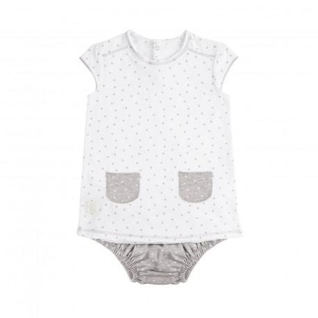 Vestido y Culotte (9 a 12 meses) Mini Stella Blanco de BabyClic