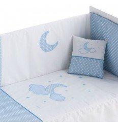 Conjunto Edredón y Chichonera Opción Cojín Pekebaby Moon Azul
