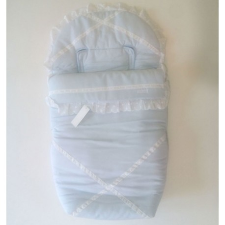 Saco Silla Primera Edad Celeste Con Detalles Blancos