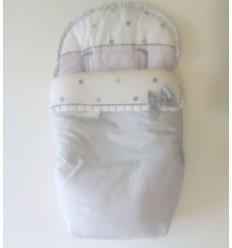 Outlet 40% Descuento Stock - Saco Silla Primera Edad Jacquard Gris y piqué blanco