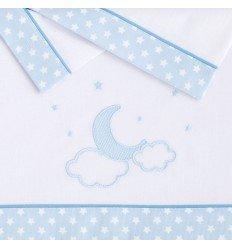 sábanas para cuna de bebés MyNubeLuna Celeste