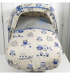Conjunto Portabebé Capota + Saco Buhos Azul