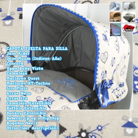Capota Silla Rider, Muum, Bugaboo, BebeCar, Bee, Concord, Uppa Baby Vista, Quest, Nano, Iru MyBuhytos Azul