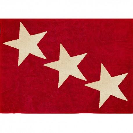 Alfombra Infantil 100% Algodón lavable en lavadora Colección Europa Rojo 120x160 cms