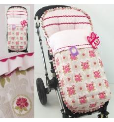 Saco para silla Bugaboo jacquard versalles floral con pique royal rosa