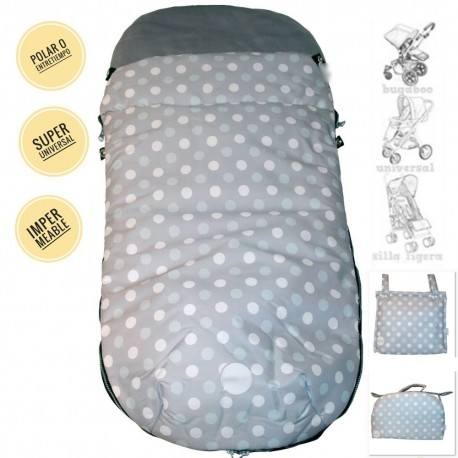 Saco Silla Dots Blanco y Celeste Impermeable Universal