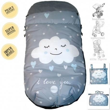Saco Silla Universal Polar Tonos Gris Con Nube Blanca