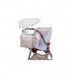 funda silla y sombrilla y panera plastificada fondo celeste