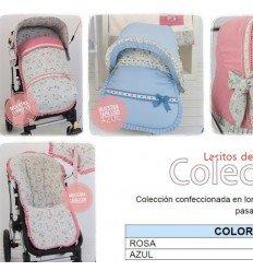colección 10: floreada. capota, colcha, cubrecapazo, sombrilla y lazos rosa bebecar classic