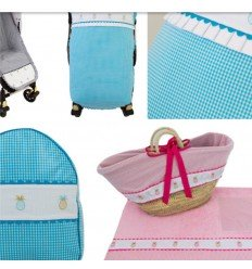 colección piñas. capota, colcha, cubrecapazo, sombrilla y lazos rosa bebecar classic