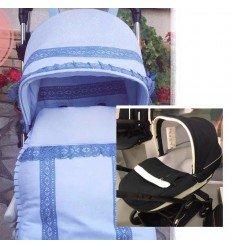 myaurora, celeste y azulon, capota y colcha y saco interior y lazos capota y pequeño y bordado