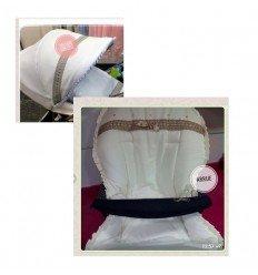 capota especifica trilogy y funda silla compatible, fondo celeste, detalles gris