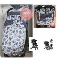 Minnum: capota extensible específica, saco compatible, cubrearneses, bolso mediano
