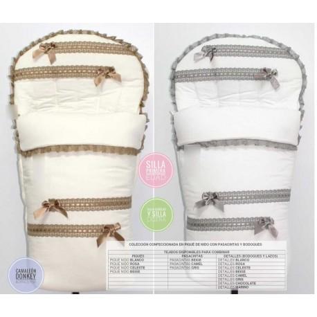 Vestir Cualquier Silla Piqué blanco y puntilla: Capota y Saco (Muestra bugaboo camaleón)