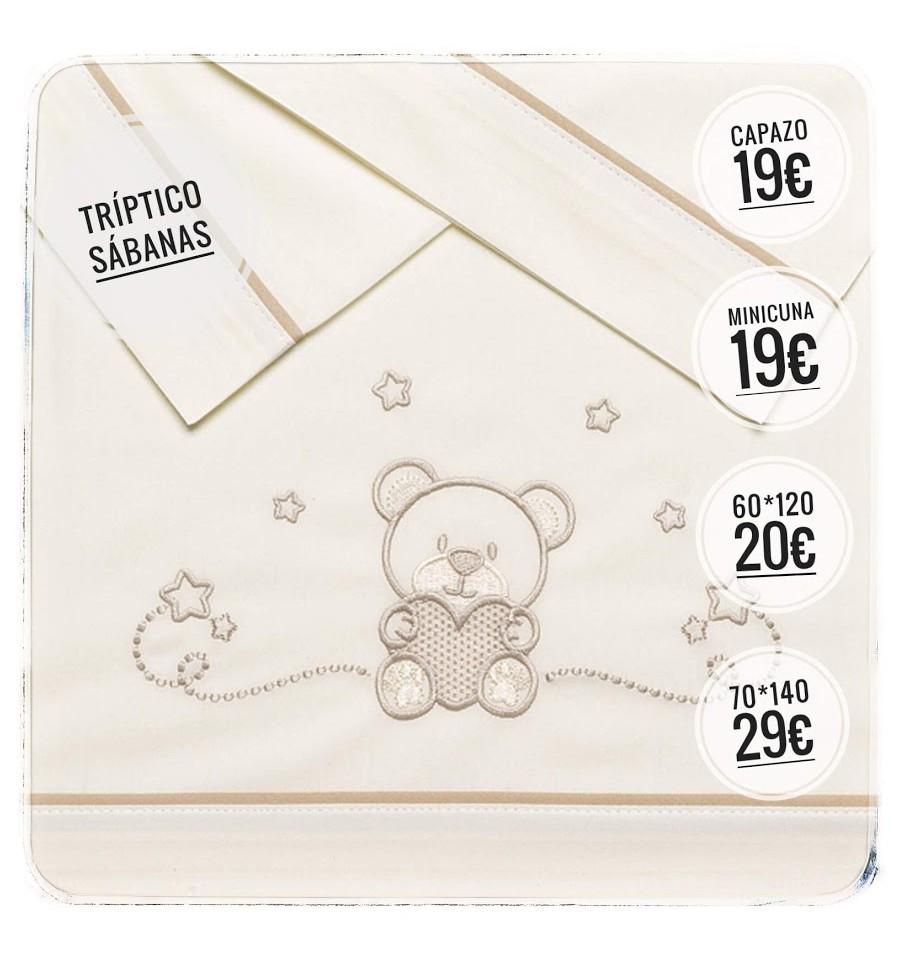 Triptico Sabanas 100/% Algod/ón CUNA 60X120 bajera+encimera+funda almohada