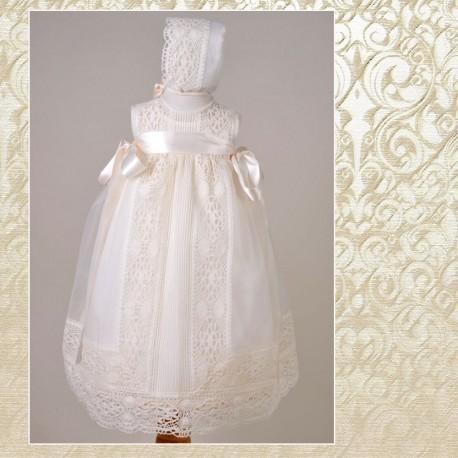 c679f4958 Conjunto faldon y capota de organza con bolillo y jaretas - Textil Bebé