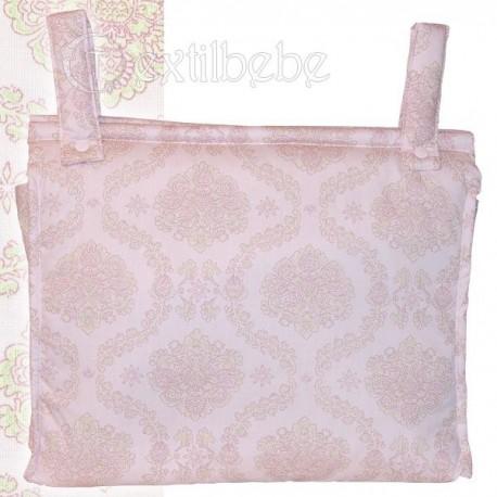Bolso Silla|Cochecito Plastificado Damasco Rosa