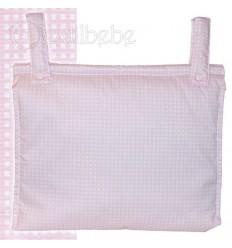 Bolso Silla|Cochecito Plastificado Cuadro Rosa